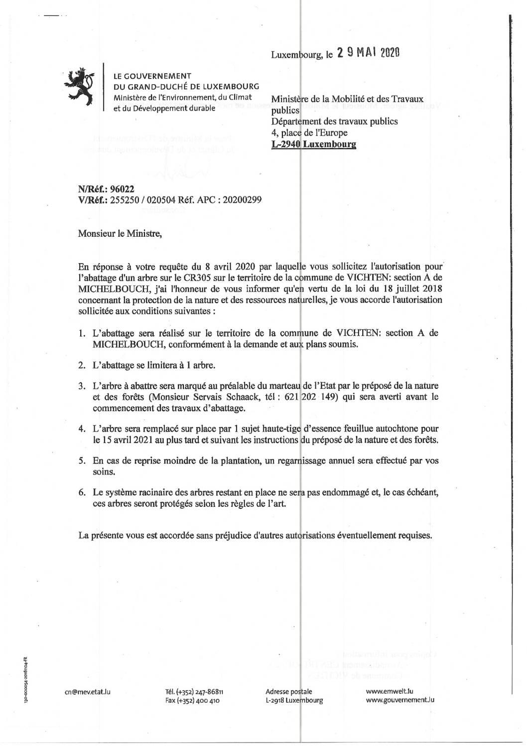 Avis au public - Abattage d'un arbre à Michelbouch
