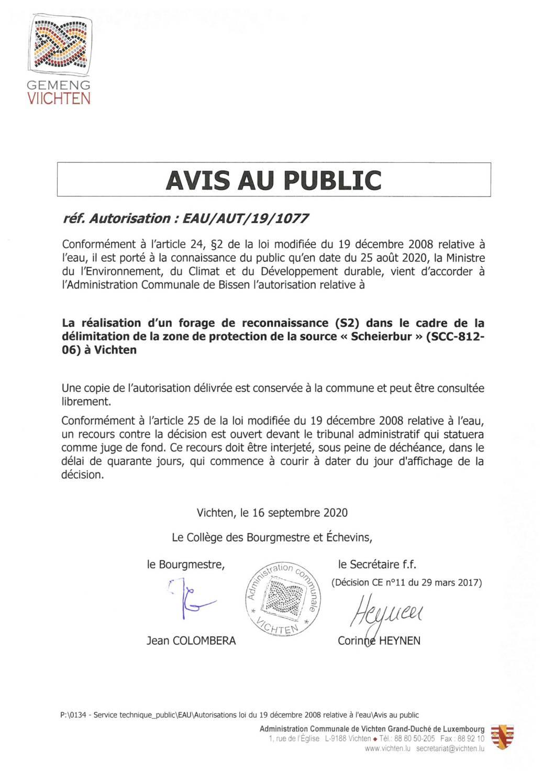 Avis au public - autorisation Eau-Aut-19-1077
