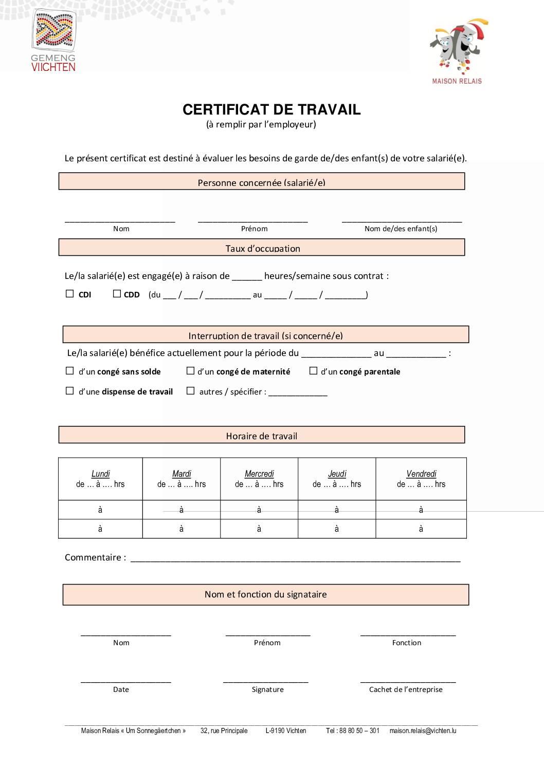 Certificat de travail parents