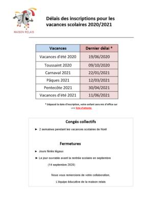 Délais inscriptions Vacances 2020_2021