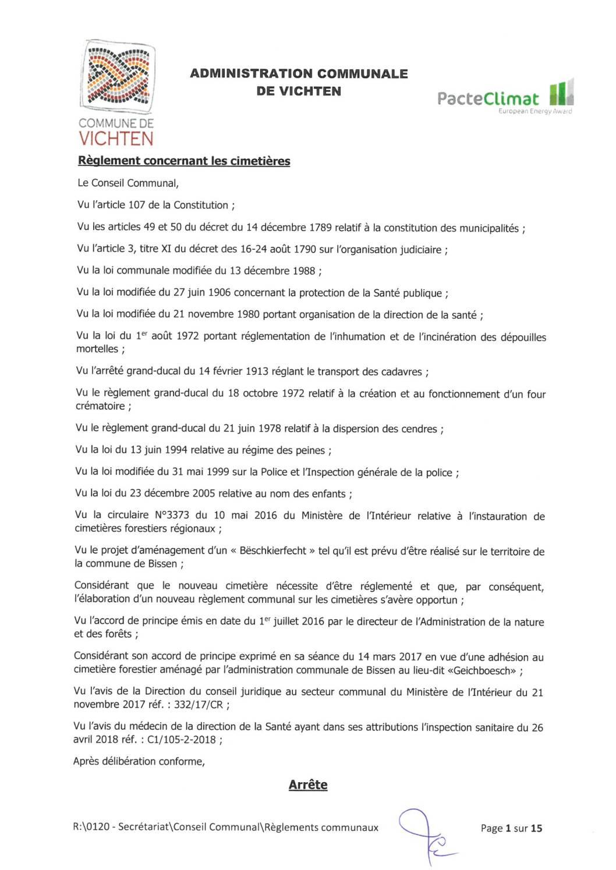 Règlement communal - Cimetières