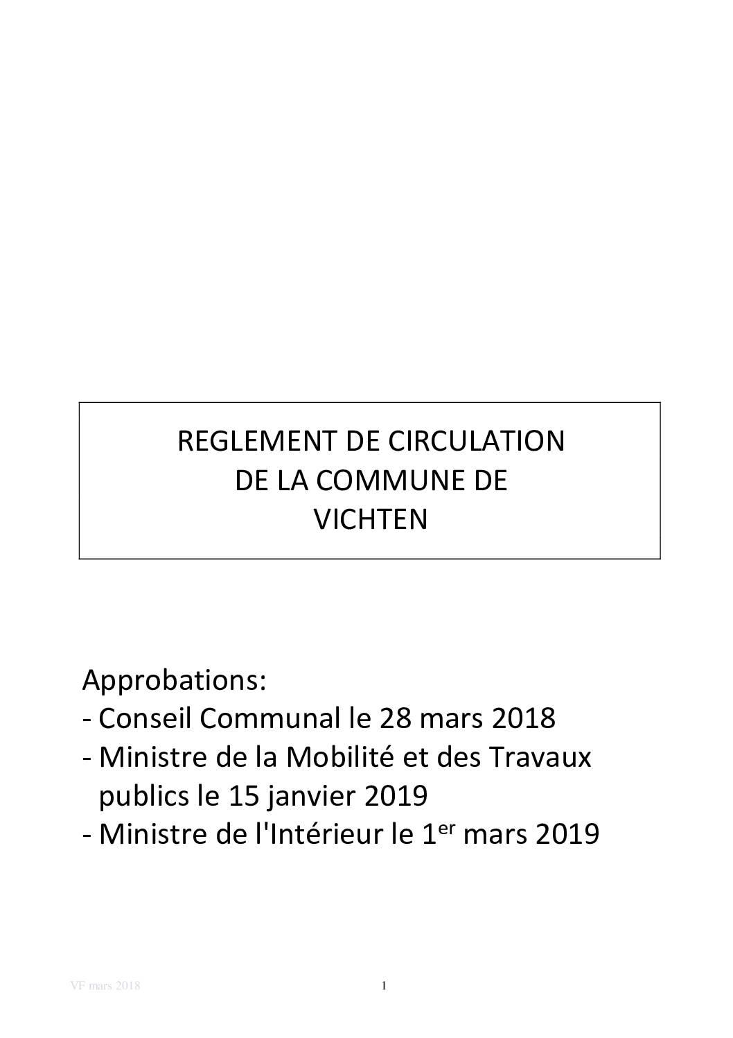 Règlement communal - Règlement de circulation publié