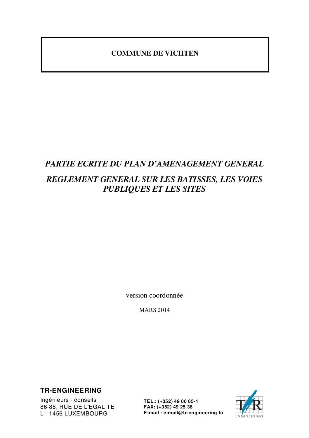 Règlement des bâtisses - PAG en vigueur