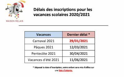 Maison relais – Modification Délais inscriptions Vacances 2020_2021